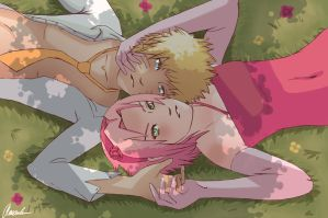 Wedding in the grass [NaruSaku] by amandas-sketches
