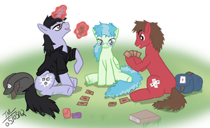 Ponies playing card games (photoshop) by PrincessKilvas