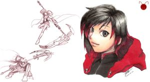 Freesketch 80: RWBY Ruby Rose by everwander