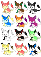 Skitty Adoptables - 20 points each by Sliced-Penguin