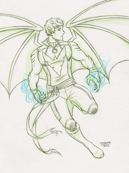 Commission - Hulkling Phoenix mashup sketch by DeanGrayson