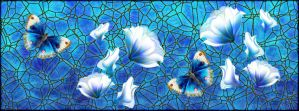 Butterfly Blue Stained Glass by serafina-rose