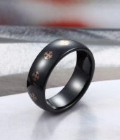 8MM Domed Black Ceramic Ring with Cross Pattern by TungstenRepublic