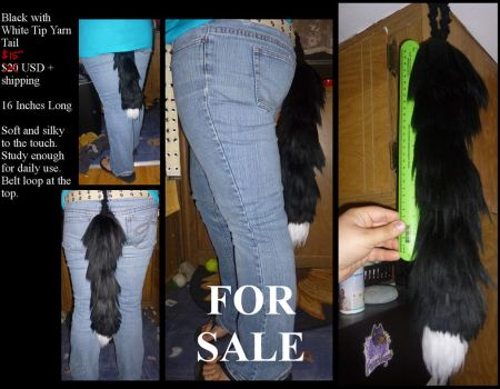 16 In. Black with White Tip Yarn Tail For Sale $20 by GuardiansWish