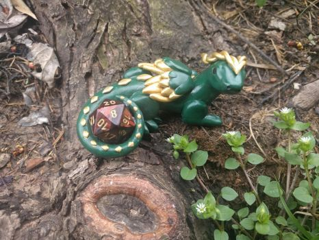 Polymer Clay Green and Gold Dragon by The-Crafty-Kestrel