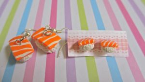 Salmon Sushi Studs and dangle earrings by gracelyt