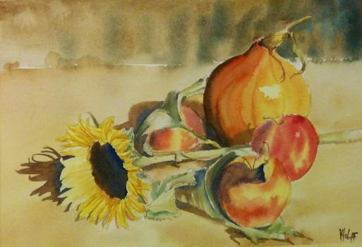 Still life with a sunflower by MagdalenaWolff