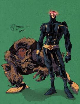 cyke and wolfcub in colour by johjames