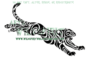 Leaping Tribal Leopard Tattoo by WildSpiritWolf