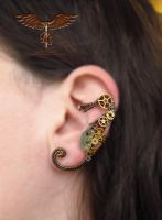 Steampunk seahorse ear cuff by alina-loreley