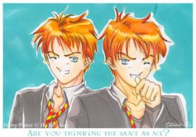 Harry Potter-Weasley Twins by Tenshi-Nie