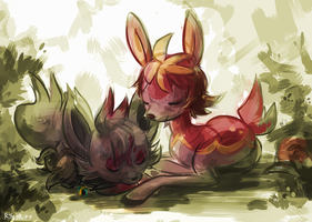 A Fox and a Deer by RileyKitty