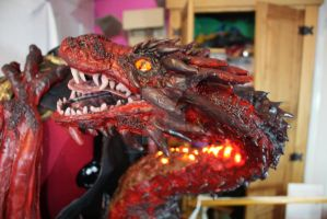 Smaug cosplay shoulder dragon head by DragonForge311088