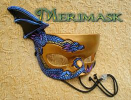 Indigo on Gold Leather Dragon Mask by merimask