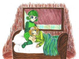 resting on saria's lap color by kristalwaterfairy