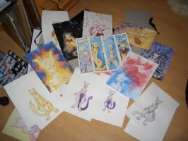 Bunch of Mewtwo Paintings by PsyLady