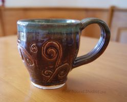 Air Themed Brown and Green Ceramic Mug by ashynekosan