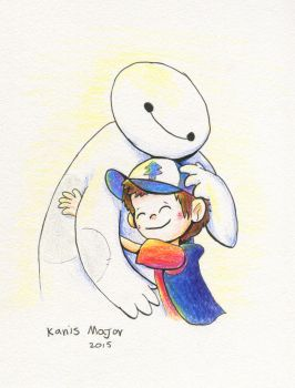 Dipper cuddles Baymax - Commission by Kosmotiel