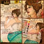 WIP Watercolor Art Nouveau Mermaid by kara-lija
