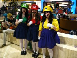 AWA '11 - The Mario Sisters and Female Wario by vincent-h-nguyen