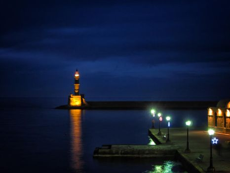 Chania Lighthouse By Night by tntiseverywere
