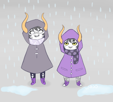 Little clowns in the rain by 4xelicious