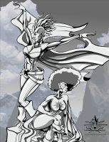 STORM AND CAPTAIN MARVEL BNW by chriscrazyhouse