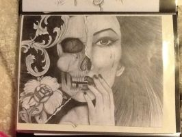 Skull/Girl portrait by MedusaMae