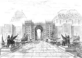 The Ishtar Gates in Babylon by Osokin