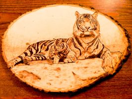 Tiger and cub - Wood Burning by brandojones