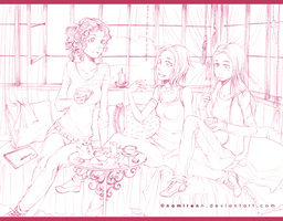 Commission - Teahouse-lineart by namirenn