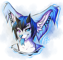 Blue Monster Kitty Face by Neotheta