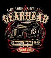 Johnny Rebel T-Shirt Design Gearhead by russellink