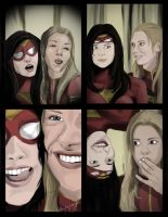 Spider-Woman and Captain Marvel - Photobooth by nottonyharrison
