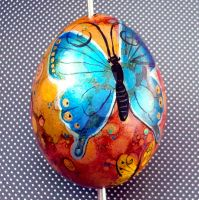 Hand Painted Butterfly Egg 1 by MandarinMoon