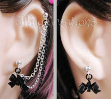 Black and Silver Connecting Bow Chain Earrings by merigreenleaf