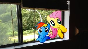 Rainbow And Fluttershy Peeking In My Room by Macgrubor