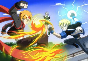 Sharing- Fire red Vs blue Thunder by BiPinkBunny
