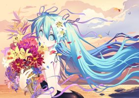 miku and flower by zsxcmax