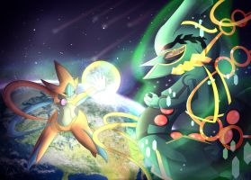 Deoxys vs Mega Rayquaza by TogeticIsa