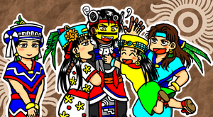 Tezcatlipoca and 4 wives by nosuku-k