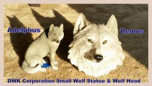 Dwk Corporation Small Wolf Statue and head! by Vesperwolfy87