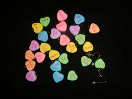 Polymer Clay Conversation Heart Earrings by Ethereal-Beings