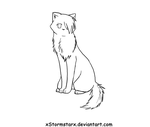 Sitting Cat Lineart by xStormstarx
