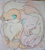 Mew and Growlithe by Kidura