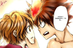 KHReborn Ch 408 Kyouko and Tsuna by LissaAller