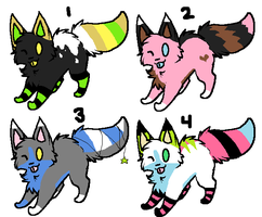 4 point cats ALL TAKEN by AmazingAdoptablez