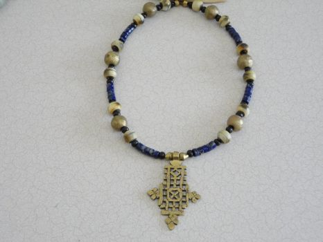 Cross Necklace with lapis by Throughthenexus