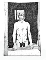Giorgio at the window, drawing by Marco C. by giovannidallorto