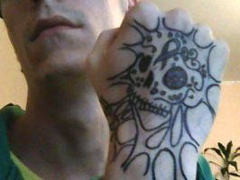 Sugar skull hand tattoo 1 by Chromone
